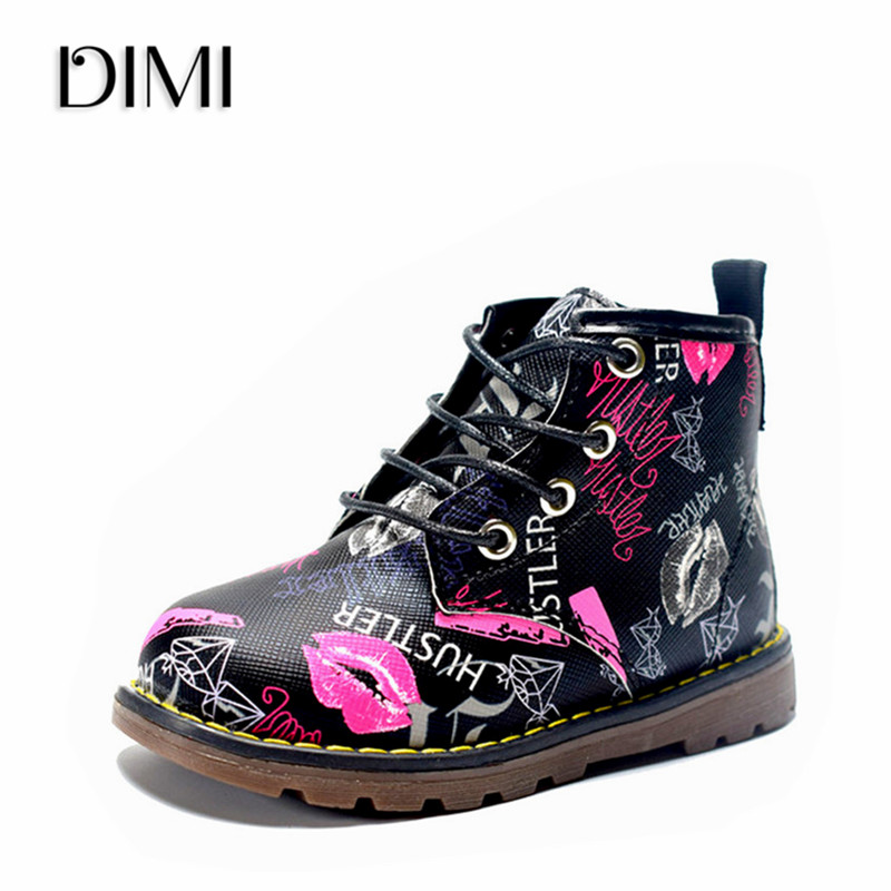 DIMI 2018 New Kids Boots Girls Leather Martin Boots Fashion Brand Children Boys Boots Waterproof Ankle Baby Boots Shoes For Girl 2016 winter children genuine leather boots brand boys cotton buckle shoes fashion ankle martin boots for kids