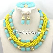 Beautiful Nigerian Beaded Jewelry Splendid African Necklace Sets Handmade Design Free Shipping BN253(China)