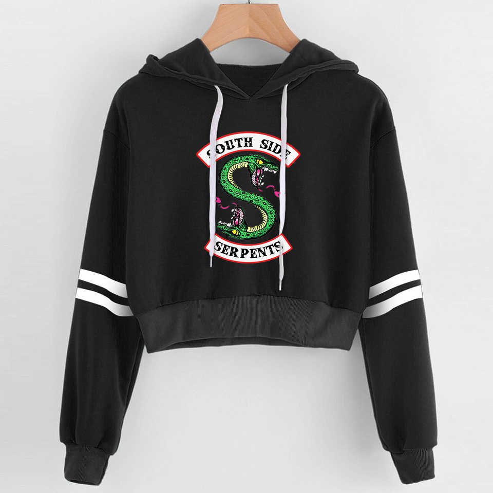 Harajuku Fashion Women Sexy Crop Top Hoodies RIVERDALE Southside Serpent Print Cropped Hoodie Sweatshirts Pullover Striped Tops
