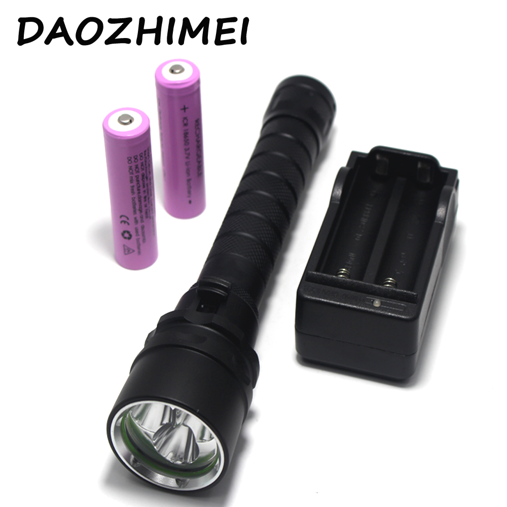 6000Lm 10W 100m Depth 3X XML T6 LED Diving Flashlight Waterproof Underwater Flash Light for Diver +2* 18650 battery +Charger sitemap 42 xml