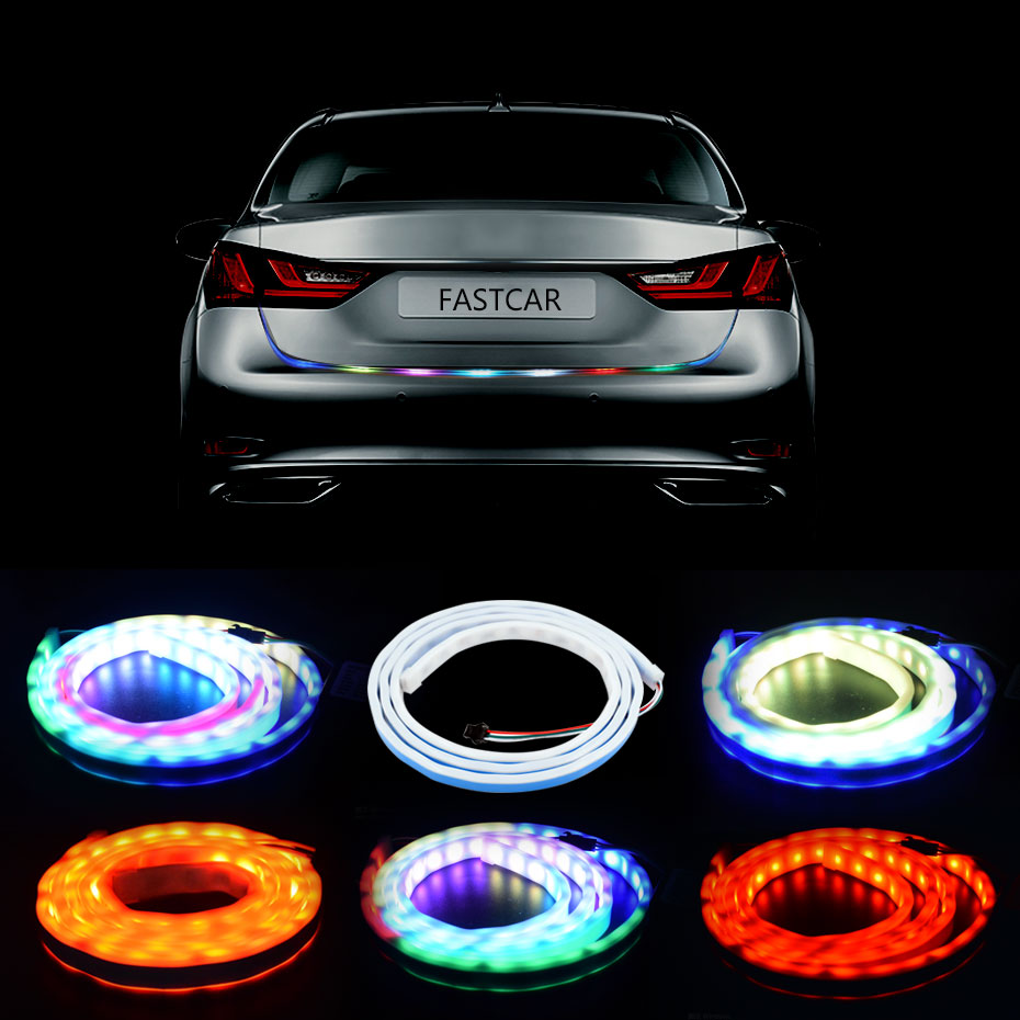 RGB Undercarriage Floating Flow Led Strip Trunk Light Dynamic Streamer Turn Signal Tail LED Warning Luggage Compartment Lights