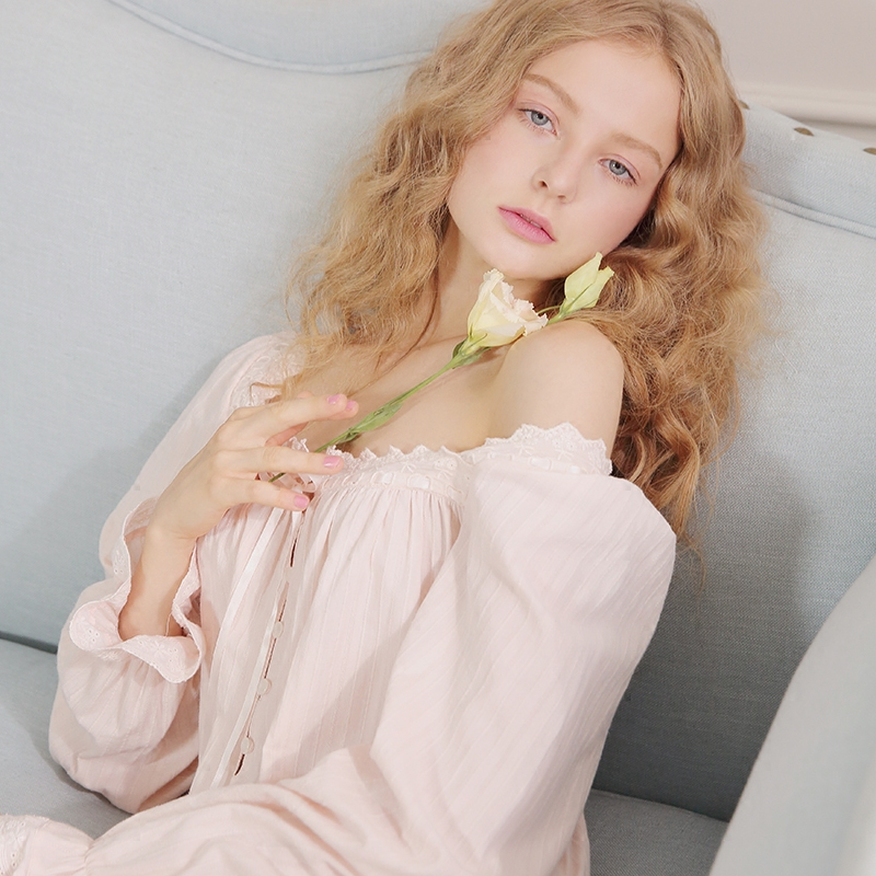 Women Cotton Sleepwear Long Nightgown Dress Casual Sleepwear Pink Purple Sleep Lounge Royal Princess Nightdress Comfort