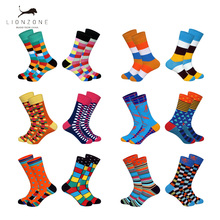 Lionzone Brand 2018 Hot 2Pairs Lot Men Brand Socks Funny Colorful Patterns Streetwear Combed Cotton Dress