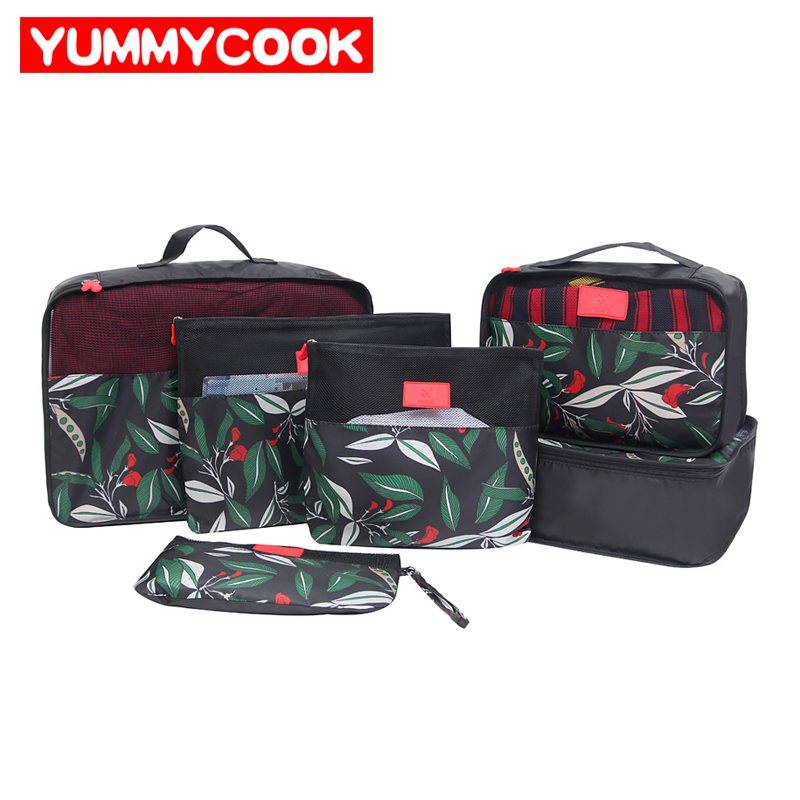6pcs/Set Travel Storage Bags Cube Portable Printing Underwear Sorting Organizer Pouch Luggage Case Wholesale Bulk Accessories