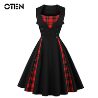 OTEN 2018 Women Size Big Tartan Dress Summer Tunics Vintage Sleeveless Red Plaid Print Button Rockabilly