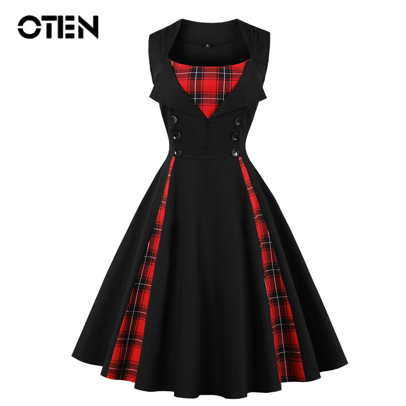 OTEN 2019 Women Size Big Tartan Dress Summer Tunics Vintage Sleeveless Red Plaid Print Button Rockabilly Party Sexy Pin Up Dress