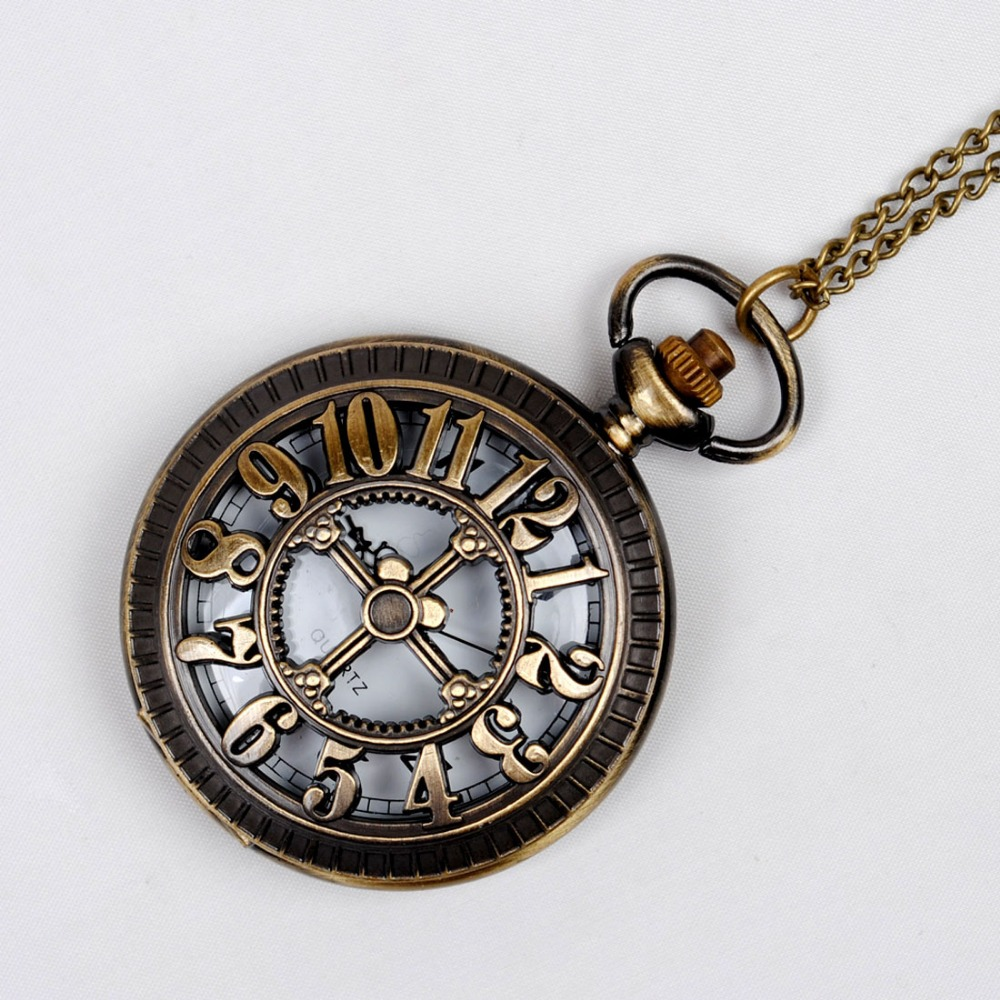 8038   Shell Skeleton Arabic Digital Pocket Watch Bronze Retro Chain Perspective Fashion Leisure Gifts For Men And Women