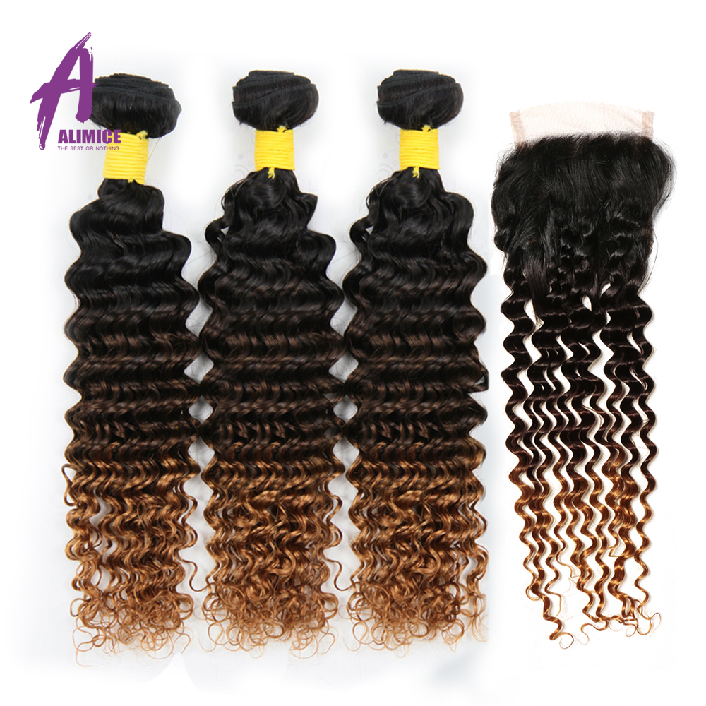 ALIMICE Ombre Bundles With Closure Indian Deep Wave Human Hair Weaves T1B430 Ombre Three Tone Non Remy Hair Extensions