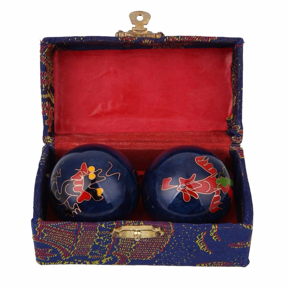 Chinese Health Exercise Ball Sliver Stress Relaxation Therapy Baoding BallsNatural Cloisonne Yin Yang Relaxation Gift Box kifit newest chinese health daily exercise stress relief handball baoding balls relaxation therapy ying yang blue massage tool