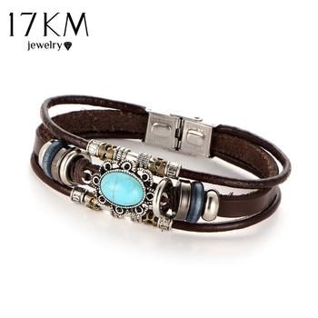 Vintage Flower Bracelets & Bangle Boho Multiple Layers Leather Bracelet Wrap Female Punk Jewelry 1