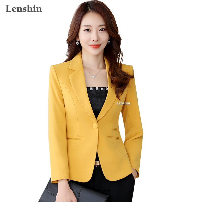 Lenshin High-quality Blazer Straight and Smooth Jacket Office Lady Style Coat Business Formal Wear Candy Color Heavy Tops