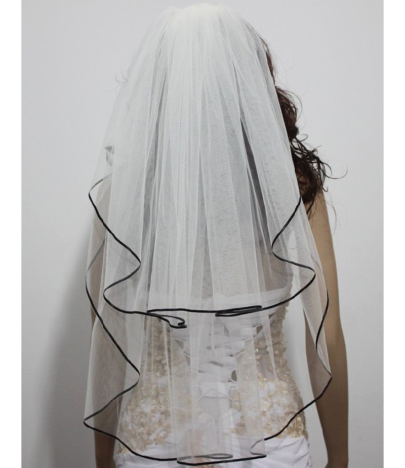 2016 New Charming White Wedding Veil With Black Ribbon Edge Veu De Noiva Mantilla Trim 2 Layer Velos Novia In Bridal Veils From Weddings