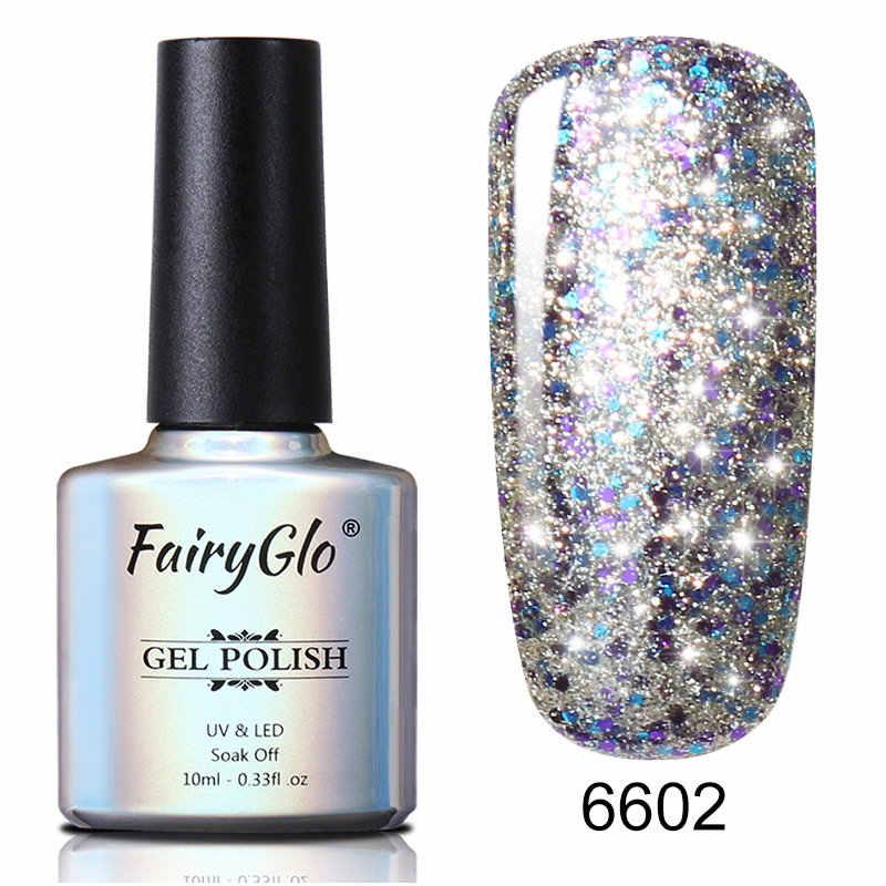 FairyGlo 10 ミリリットル星空グリッタースタンプペイントマニキュアソークオフ UV マニキュアラメ塗装 Gellak ハイブリッドワニス Gelpolish