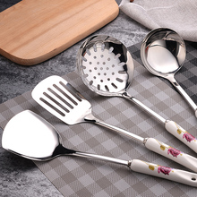 Cooking Tool Set 6pcs Ceramic Handles Stainless steel Kitchen Utensils  set of cookers Stir-fry Shovels Spoons Strainer Spatula