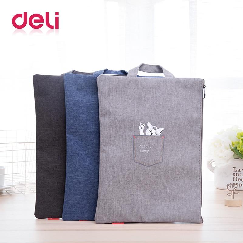 Deli 1pcs Document Bag Office Portable Vertical Fashionable Students Cute Pure Color Big Capacity School Bag Laptop File Holder