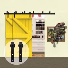 LWZH Кантри Стиль деревенская деревянная дверь система обхода оборудование для раздвижной двери сарая комплект черный j-образные ролики для внутренние двойные двери