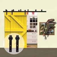 LWZH страна Стиль деревенские деревянные двери обход Системы раздвижные сарай Комплектующие дверей комплект черный j формы ролики для интерь