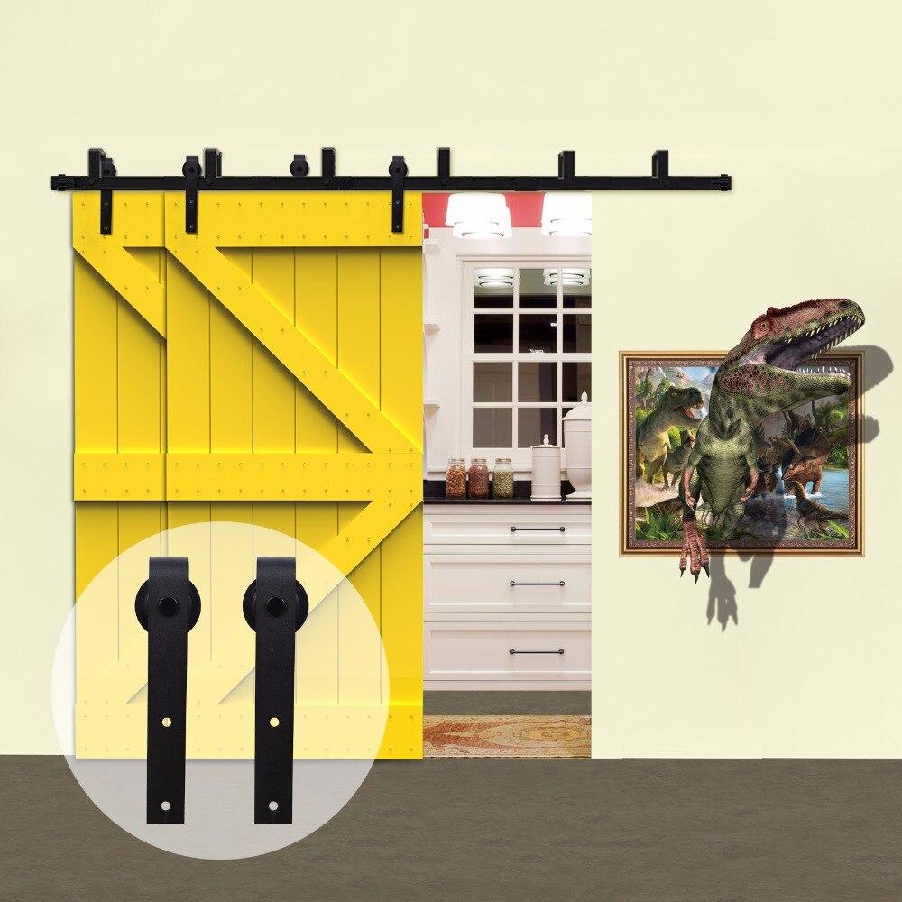 LWZH Country Style Bypass Sistema de Porta Deslizante Hardware Porta Do Celeiro De Madeira Rústica Kit Preto J-Em Forma de Rolos para Interior Porta dupla