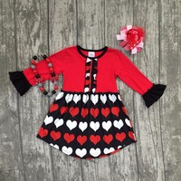 Valentine S Day Spring Baby Girls Children Clothes Boutique Cotton Ruffles Long Sleeve Black Love