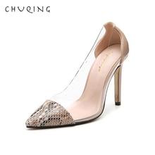 купить!  CHUQING Прекрасно с женской обувью 2019 Весной и Осенью Новая мода прозрачного цвета соответствия