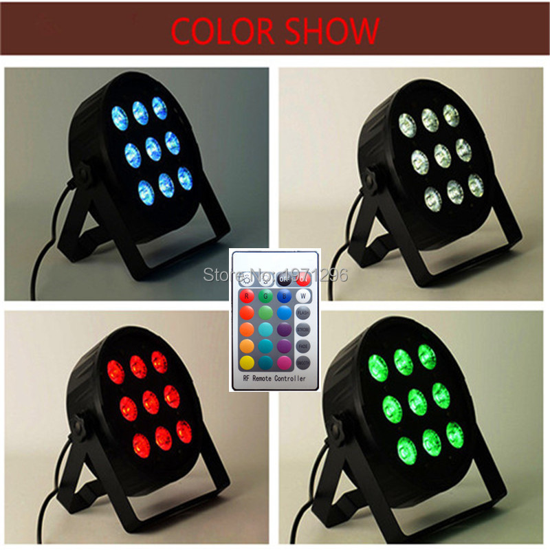 4pcs/lot Free shipping hot sale Wireless remote control American DJ LED SlimPar 9x12W RGBW 4IN1 Wash Light Stage Uplighting