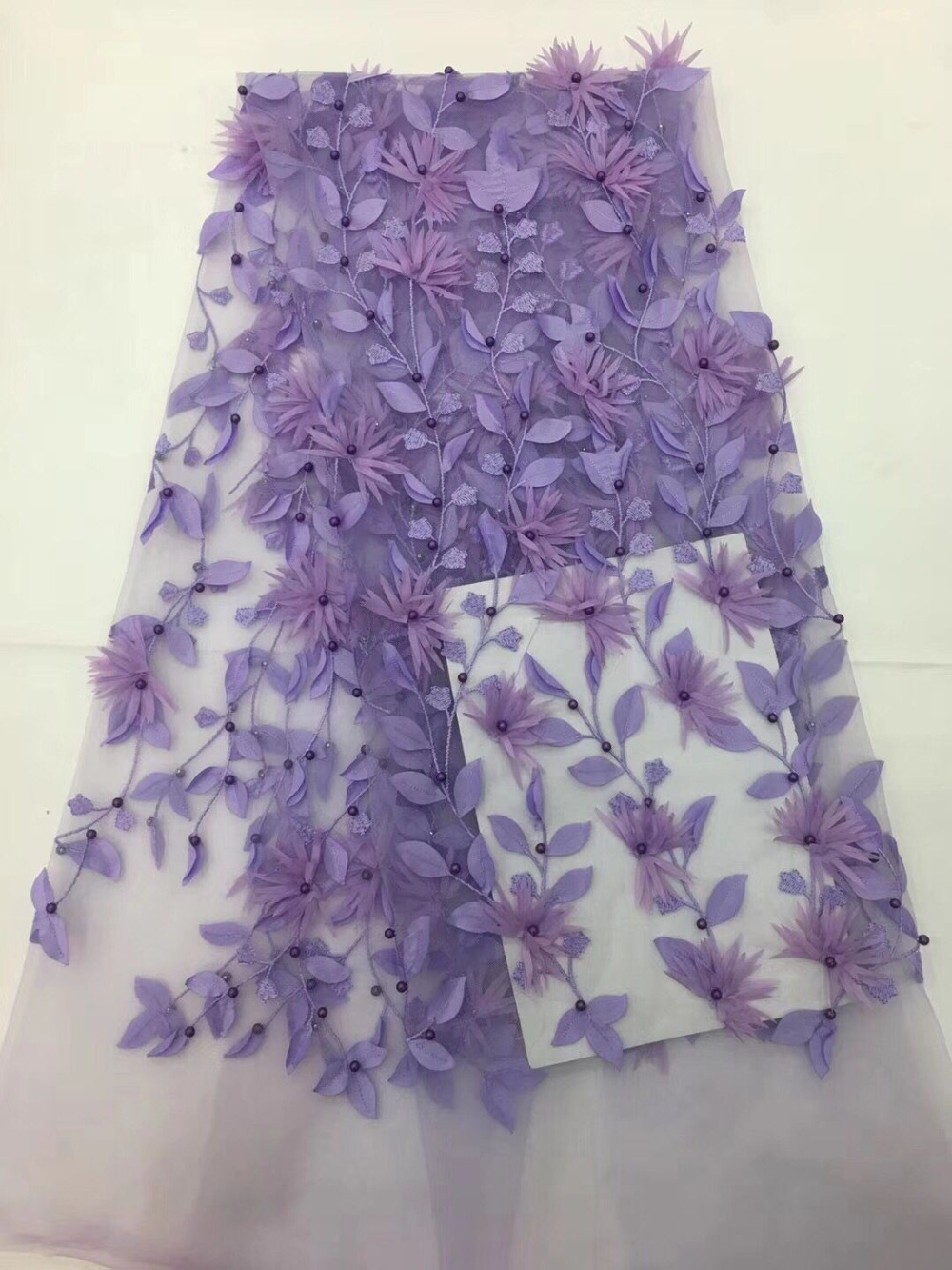 bead Indian Lace Fabric 2018 purple Nigeria Voile Net Tulle Guipure Lace African Women Evening Dress Sequins Fabric