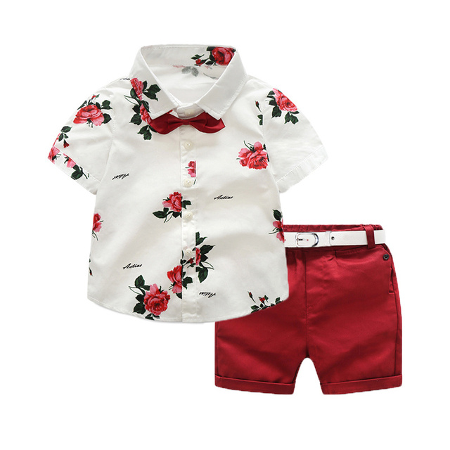 b42d87133b5a 2018 Summer fashion Boy s clothing sets Children s suit sets Kids set  cotton baby clothing flower print shirts+shorts+bow tie