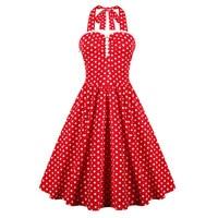 Kobiety Halter Neck Backless Red Polka Dots Klasyczne 1950 s Styl Vintage Pin up Rockabilly Party Suknie Plus Size