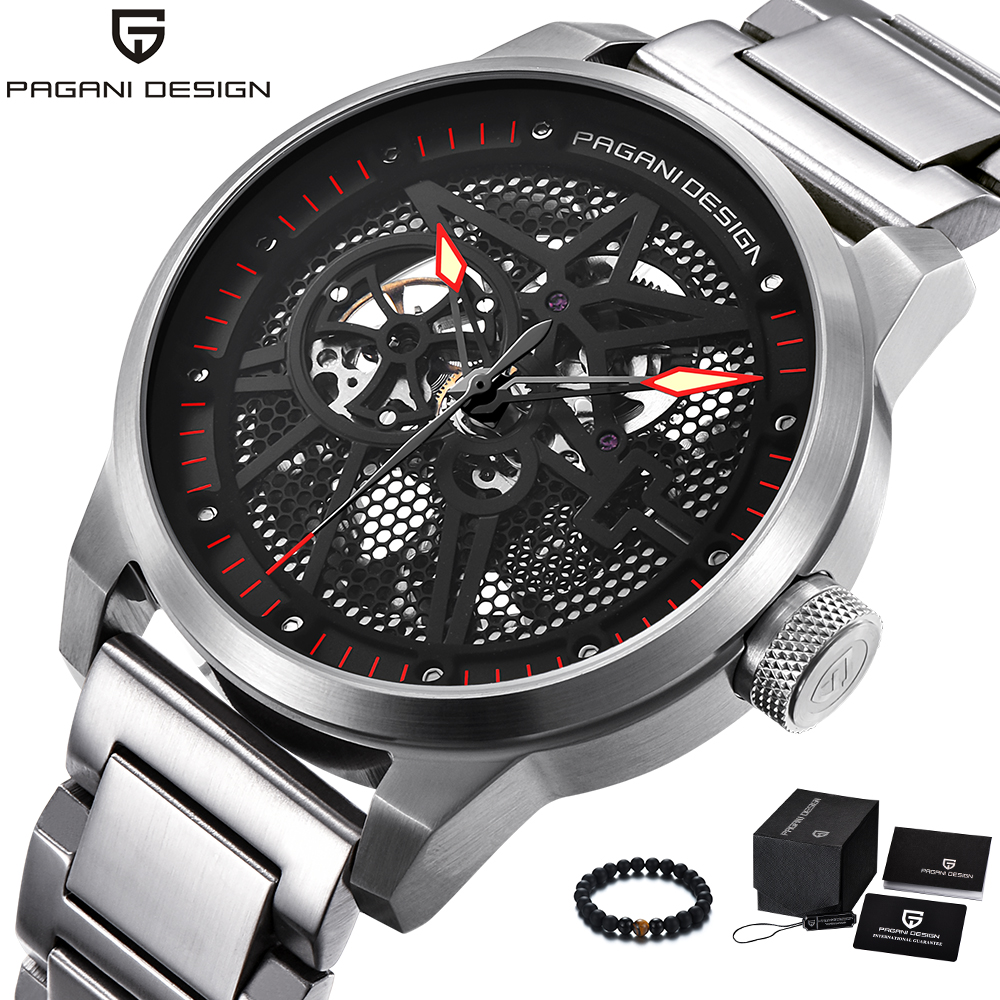 PAGANI Design Mens Watches Top Brand Luxury Automatic Mechanical Watch Men Waterproof Stainless Steel Band Wheel Wristwatch 2018 men gold watches automatic mechanical watch male luminous wristwatch stainless steel band luxury brand sports design watches