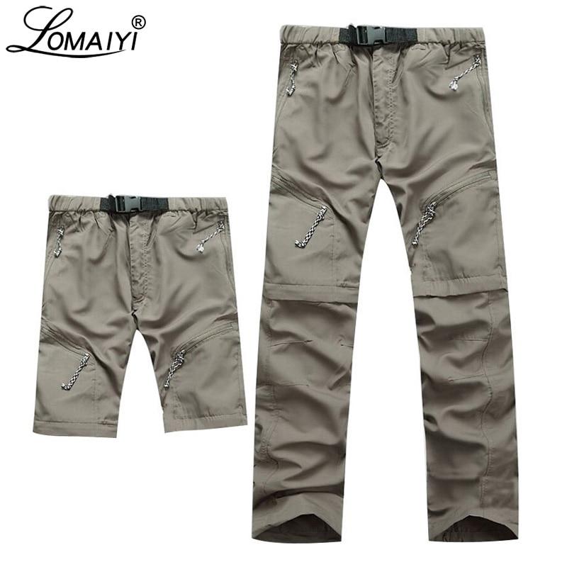 LOMAIYI Multifunction Cargo Pants Men Summer Ultra Thin Men's Cargo Trousers Male Khaki/Black Quick Dry Zip-Off Pants Man AM001