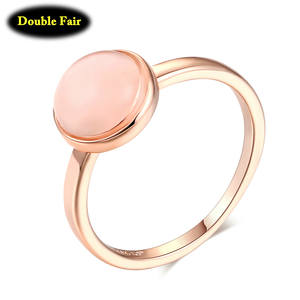 Top Quality Rose Gold Color Opal Moon-Stone Finger Rings Fashion Brand Party/Wedding