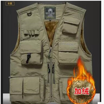 The classic 2017 high quality pure cotton JEEP vest detachable  leisure Many pocket Add wool photography vest men director coat