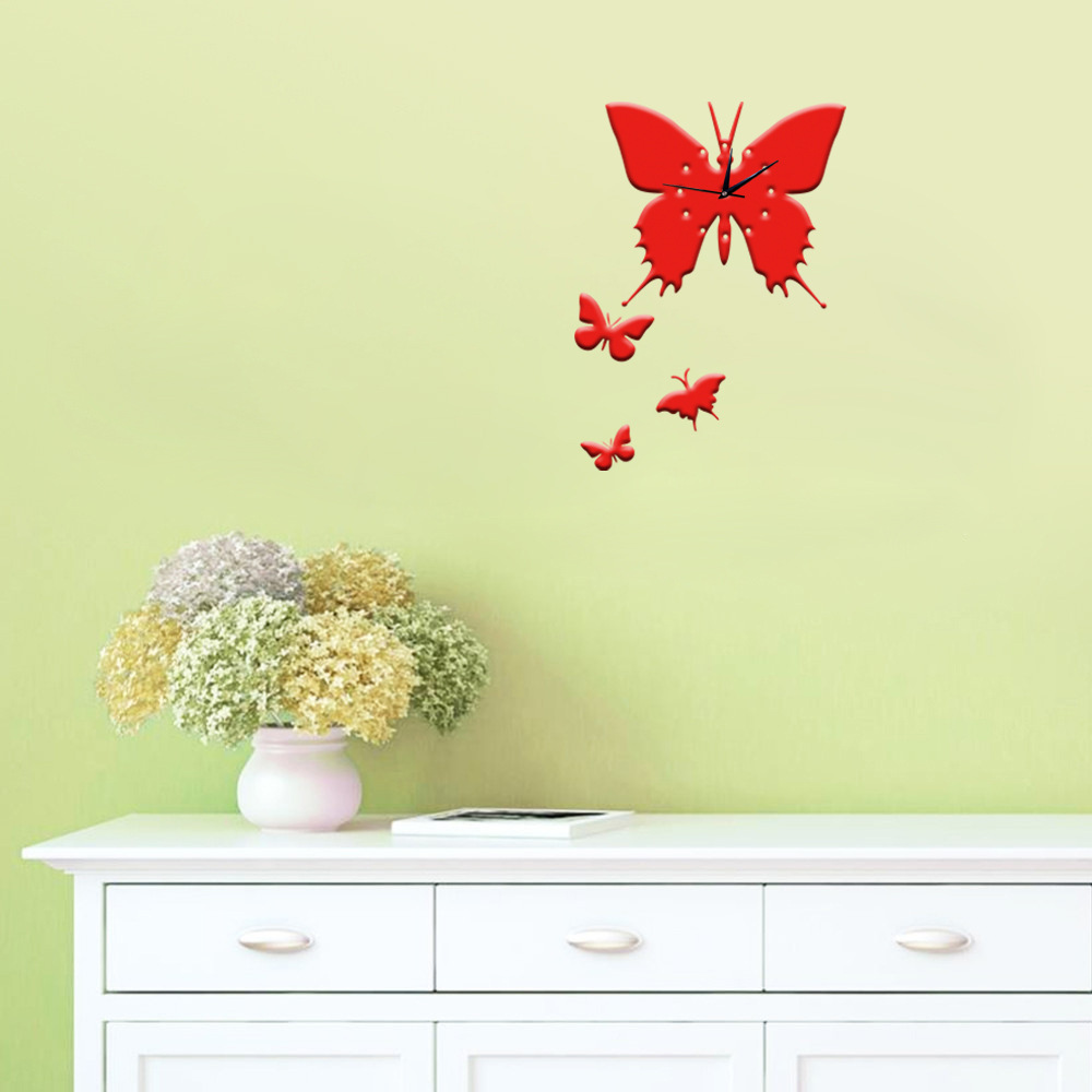 2017 Hot DIY Wall Clock Decoration Acrylic Romantic Butterfly Wall ...