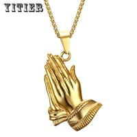 1pcs Yitier Gold Color Peace Sign Necklace Women Men Jewelry Stainless Steel Prayer Necklaces Amp Pendants