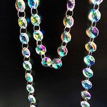 5 м/лот, покрытие радужных цветов, 14 мм, стеклянные Восьмиугольные бусины, гирлянды для подвесных люстр, украшения для дома