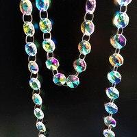 Qualidade superior 5 m/lote revestimento arco-íris cores 14mm vidro octógono grânulos guirlanda vertentes para lustre pendurado  decoração de casa
