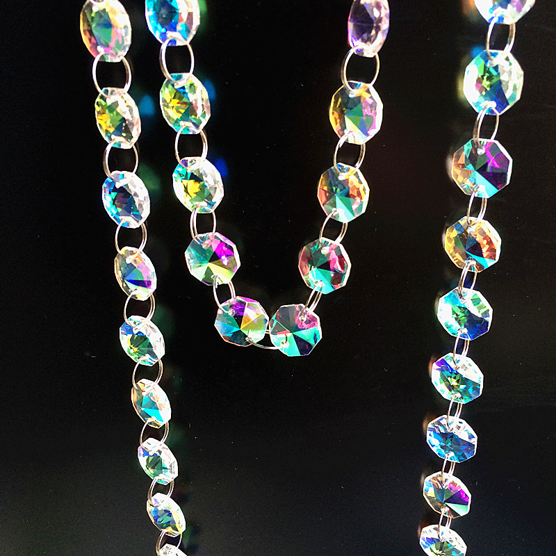 Top Quality 5m/lot Coating Rainbow Colors 14mm Glass Octagon Beads Garland Strands For Chandelier Hanging , Home Decoration