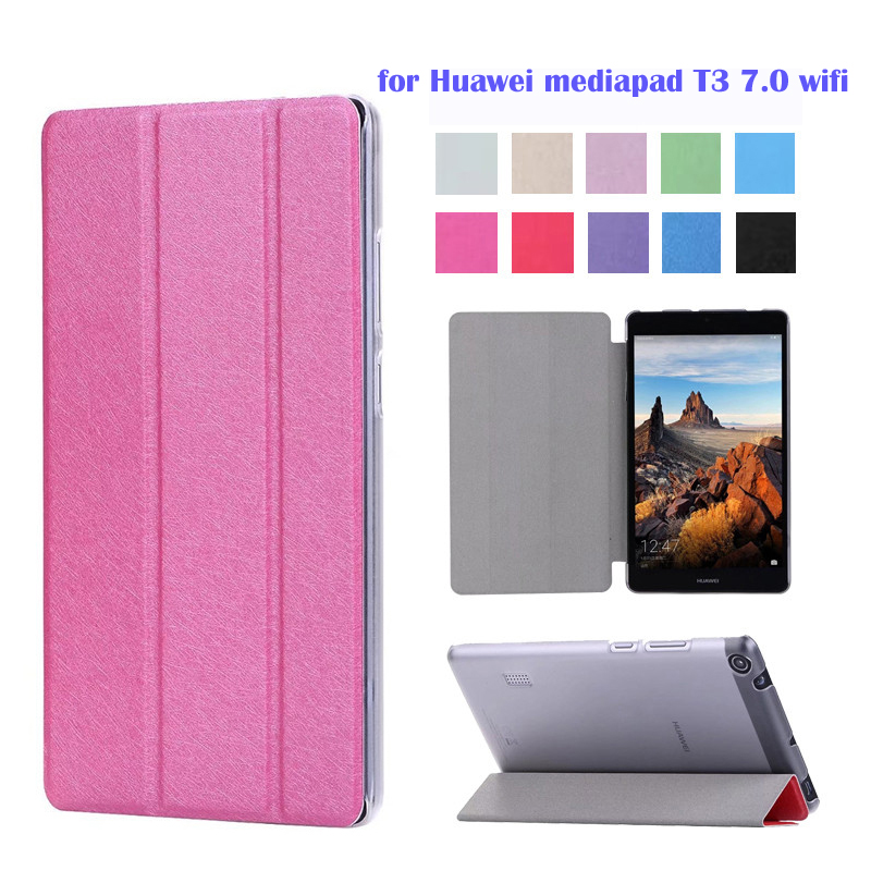 Case Cover For Huawei Mediapad T3 7.0 Wifi Slim Magnetic Folding Flip PU BG2-W09 7.0 Inch Tablet Skin Shell
