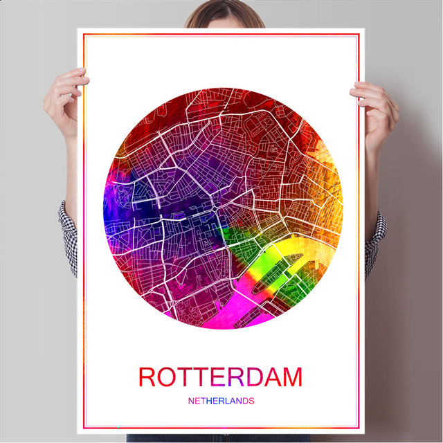 Aliexpress buy world famous city map rotterdam netherlands world famous city map rotterdam netherlands print poster print on paper or canvas wall sticker bar gumiabroncs Gallery