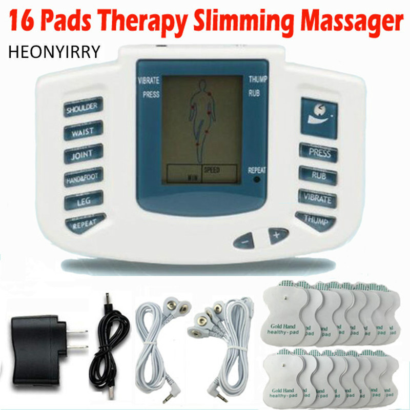Electronic Body Slimming Pulse Massage for Muscle Relax Pain Relief Stimulator Massageador Tens Acupuncture Therapy Machine electronic pulse body slimming massage with electrode pads for muscle relax muscle stimulator voice features massage slippers