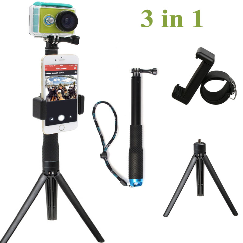 3in1 Go Pro Extendable Pole Selfie Stick Handheld Monopod