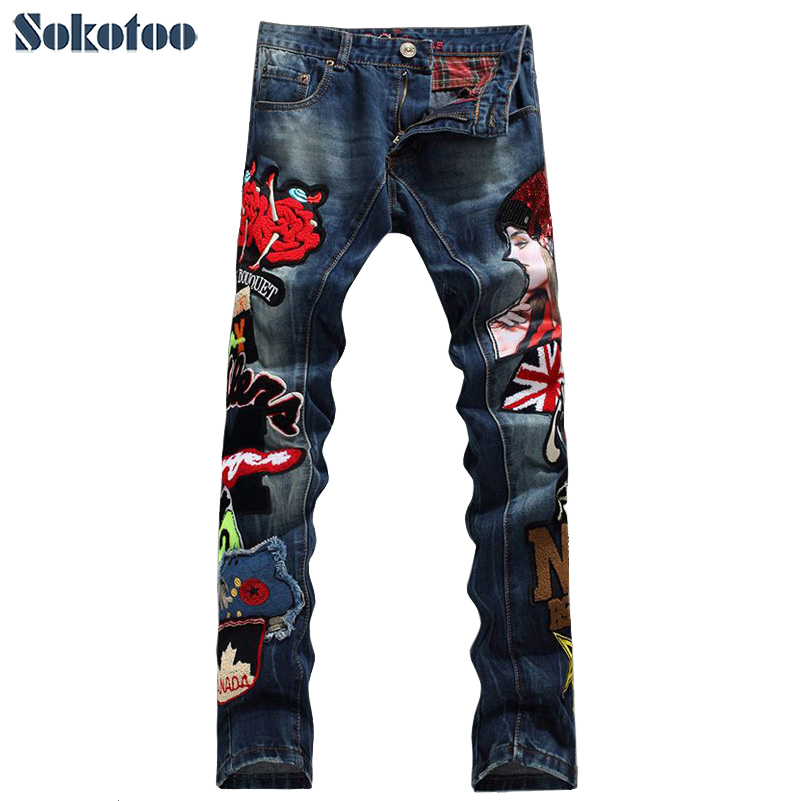 Sokotoo Men's fashion beauty girl English flag denim   jeans   Male casual appliques straight pants Slim long trousers Free shipping