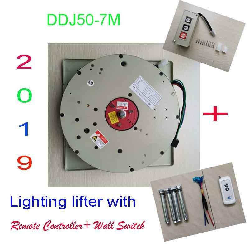 50 KG 7 M Wall Switch + Controle Remoto Iluminação Lifter Chandelier Hoist Lamp Guincho Leve Elevação Sistema, 110 V, 120 V, 220 V, 230 V, 240 V