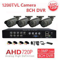 CCTV 8CH HDMI 3 IN 1 Hybrid DVR NVR HVR 4pcs 720P 1200TVL 1 0MP Outdoor