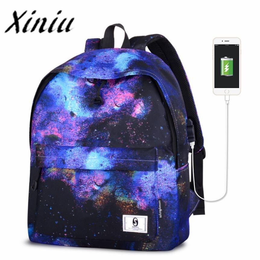 Xiniu Unisex backpack usb charging teenage backpack usb charging rucksack women back pack women backpack 2017 luxury designer#SS