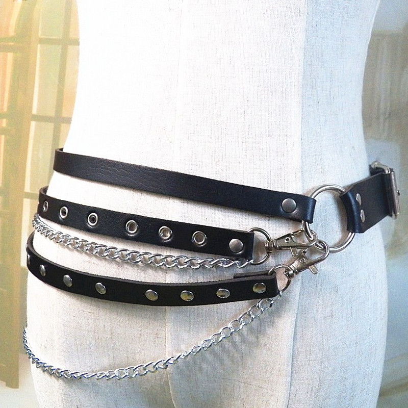New Fetish Body Harness Binding Suspenders Sexy Stockings with Garters Sweater Sweater Belts BDSM For Women Punk Gothic Rave GPD