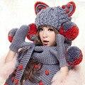 Ручной Шарф и Перчатки и Шапочки Большие Кошачьи Уши и Большой Пом Hat Теплые Вязаные шапки Зимние Женщины