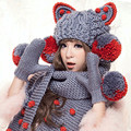 Handmade Scarf & Gloves & Beanie Big Cat Ears & Big Pom Hat Warm Knit Winter Women