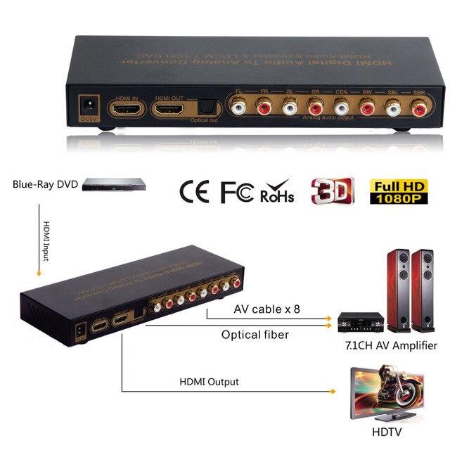 HDMI к HDMI Оптический Цифровой Сигнал в Аналоговый Audio Extractor 7.1ch ЦАП Конвертер LPCM HDMI до 7.1 Каналов Аудио Конвертер
