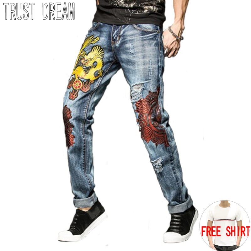 TRUST DREAM Europeans Style Men Slim Embroidery Ripped Hole Jean Casual Distressed Slim Man Fashion Persoanal Quality Jeans l jean camp trust